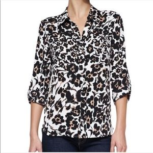 DVF Cheetah Silk Button Down Sz S #1365